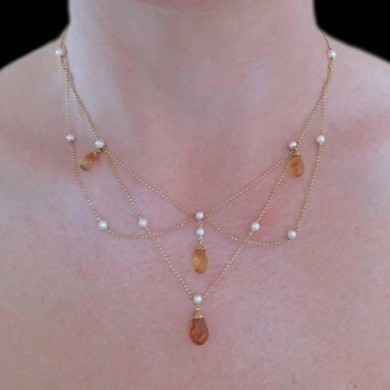 Women's New 14.70 Carat Citrine Cultured Pearl 18 Karat Gold Drapery Chain Necklace For Sale