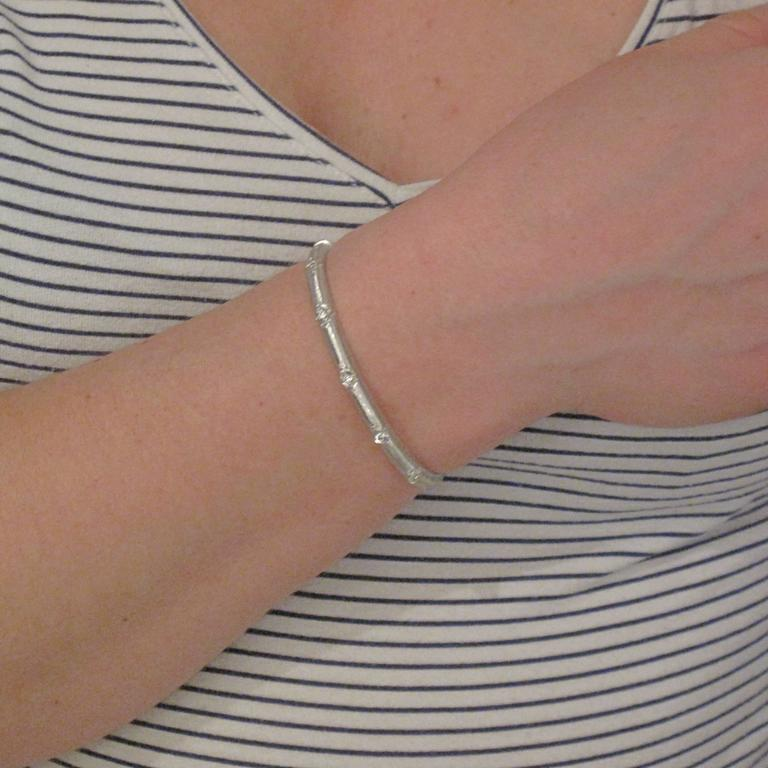 Renaissance Brushed Diamond Bangle Bracelet For Sale