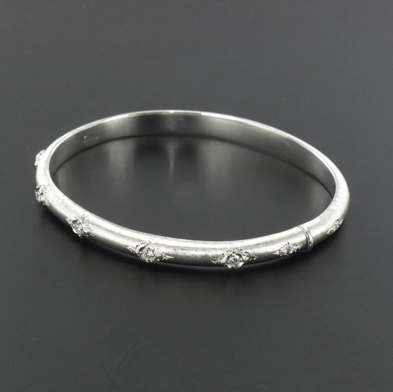 Women's Brushed Diamond Bangle Bracelet For Sale