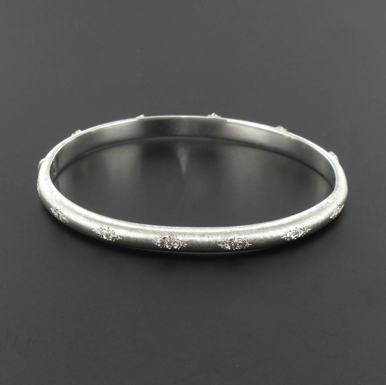 Brushed Diamond Bangle Bracelet For Sale 1