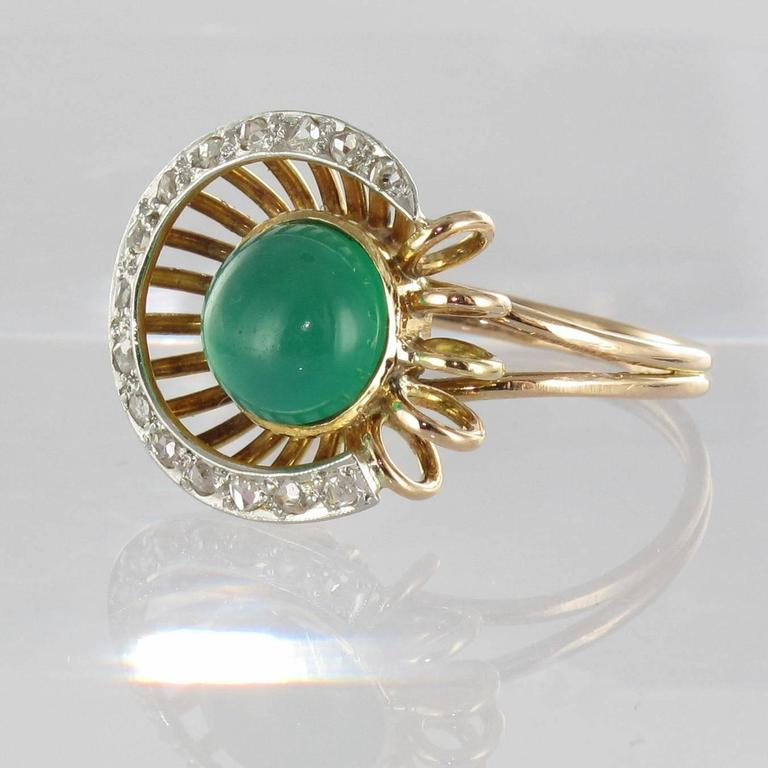 Original Green Agate and Diamond Ring 2