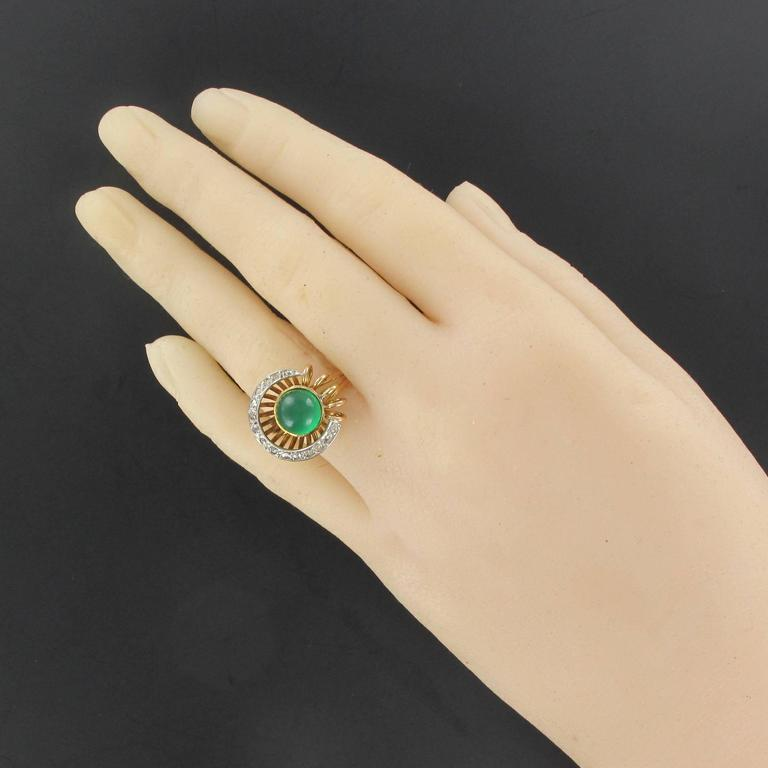 Original Green Agate and Diamond Ring 3