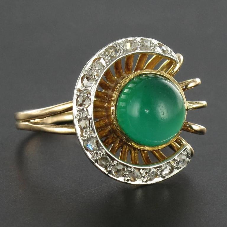 Original Green Agate and Diamond Ring 4