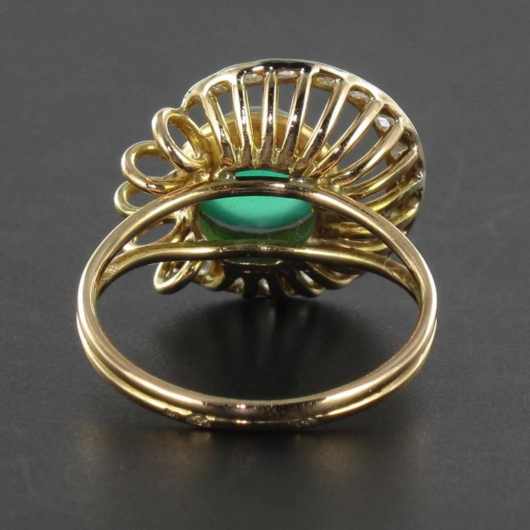 Original Green Agate and Diamond Ring 5