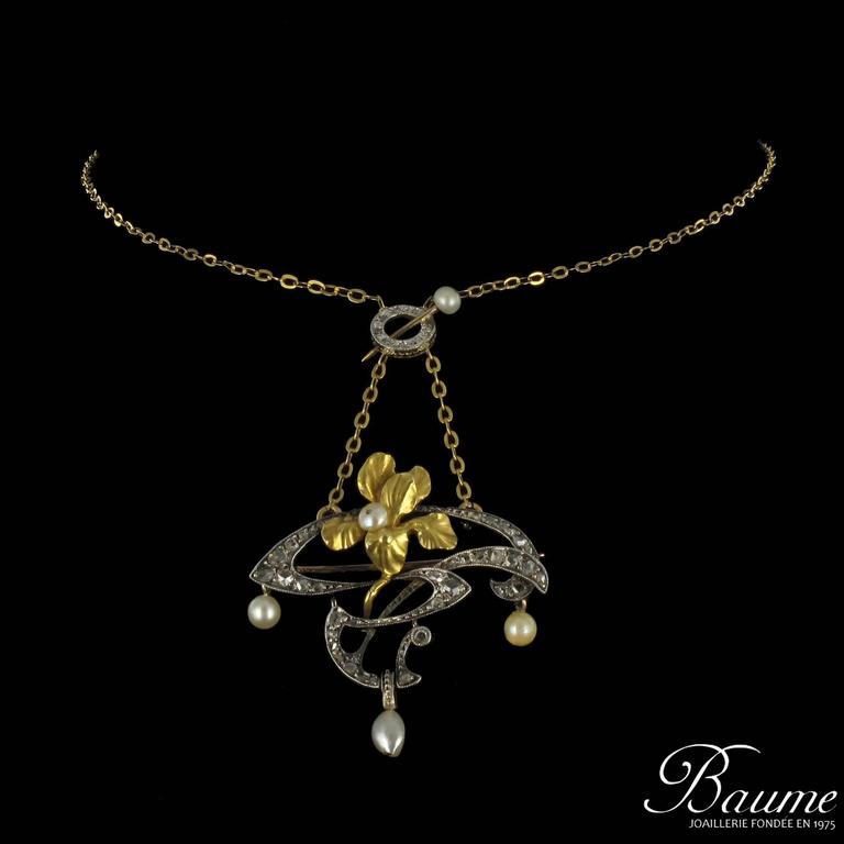 French Art Nouveau Fine Pearl Diamond Silver Gold Pendant Brooch For Sale 3