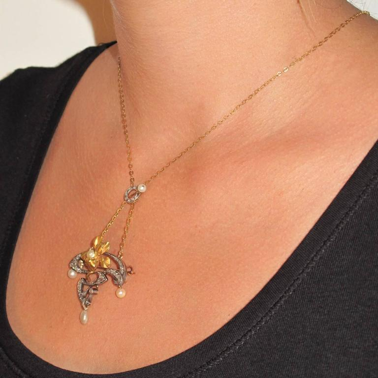 French Art Nouveau Fine Pearl Diamond Silver Gold Pendant Brooch For Sale 7
