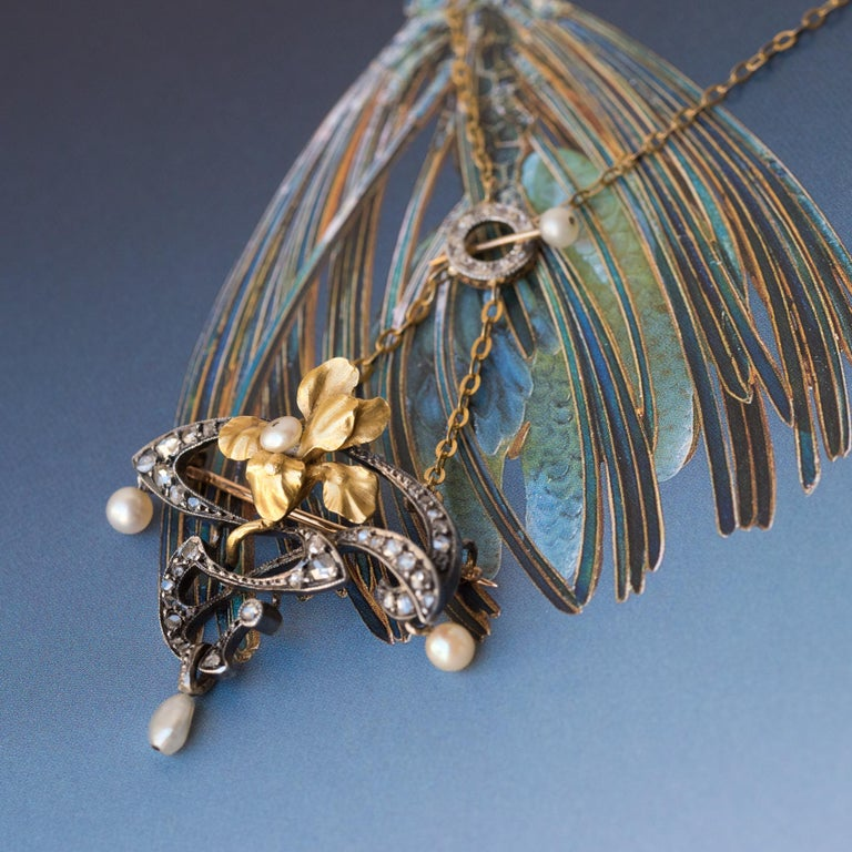 French Art Nouveau Fine Pearl Diamond Silver Gold Pendant Brooch In New Condition For Sale In Poitiers, FR