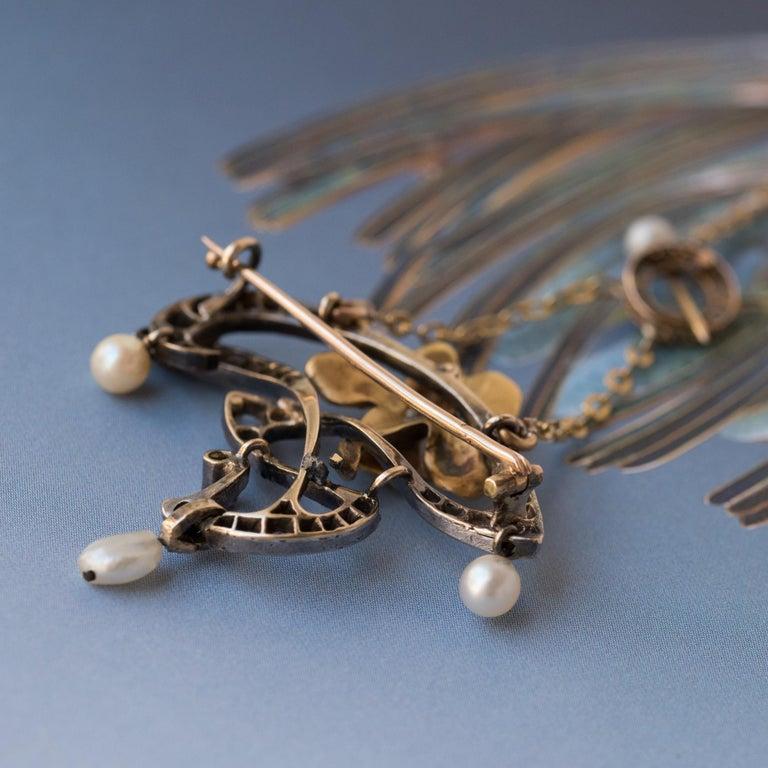 Women's French Art Nouveau Fine Pearl Diamond Silver Gold Pendant Brooch For Sale