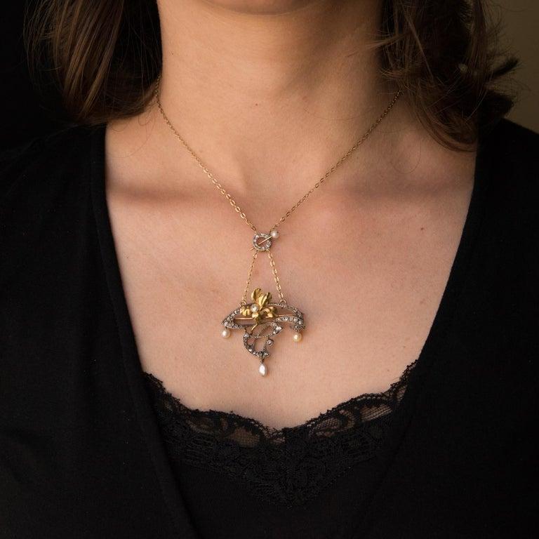 French Art Nouveau Fine Pearl Diamond Silver Gold Pendant Brooch For Sale 4