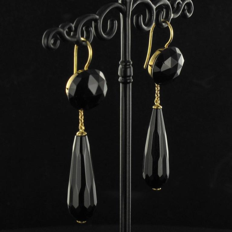 Onyx Gold Drop Earrings  2