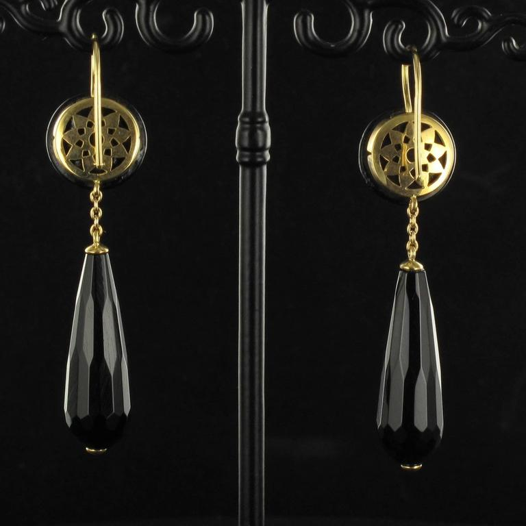 Onyx Gold Drop Earrings  3