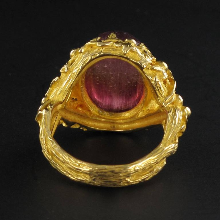 Exceptional 16 Carat Watermelon Cabochon Tourmaline Gold Ring 4