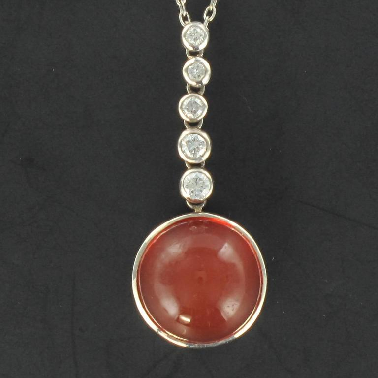 5,70 carats Fire Opal and Diamond Pendant 2