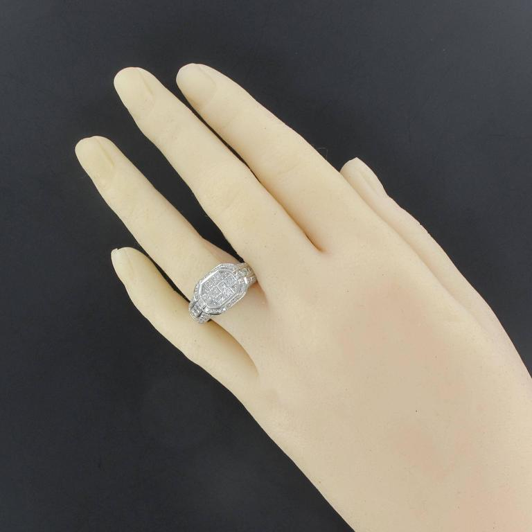 Women's Modern Invisible Setting 2 Carats Princess and Brillant Cut Diamond Ring  For Sale