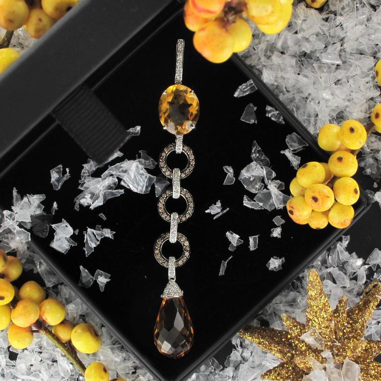Citrine and diamond pendant necklace  2