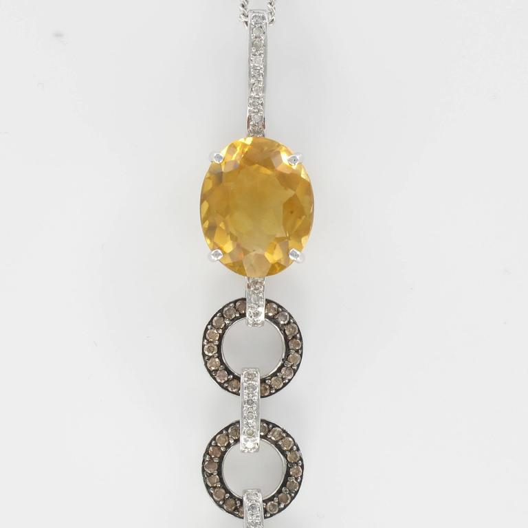 Women's Citrine and diamond pendant necklace  For Sale