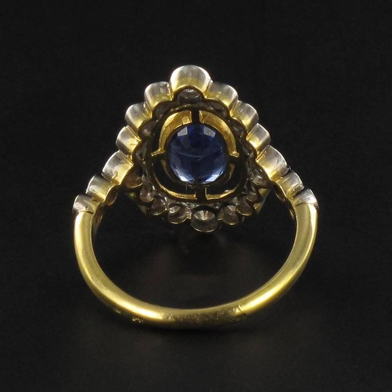 Sapphire Diamond Gold Openwork Ring 6
