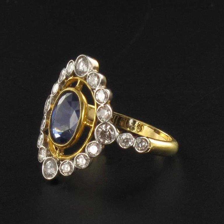 Sapphire Diamond Gold Openwork Ring In New Condition For Sale In Poitiers, FR
