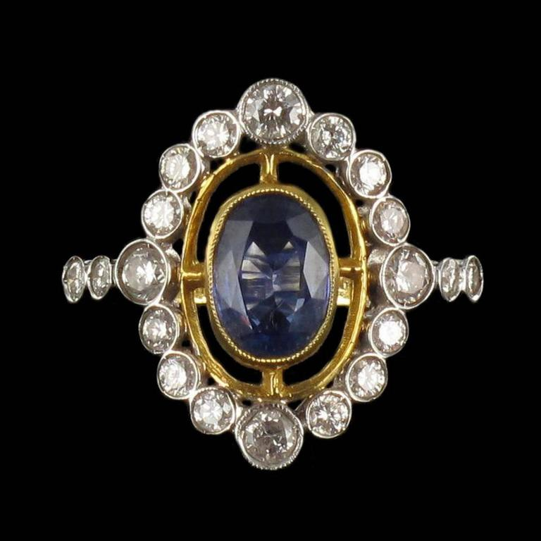 Sapphire Diamond Gold Openwork Ring 7