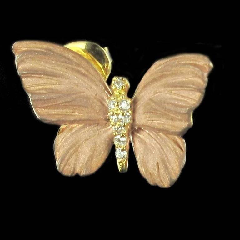 Women's Rose Enamel Diamond Gold Butterfly Earrings For Sale