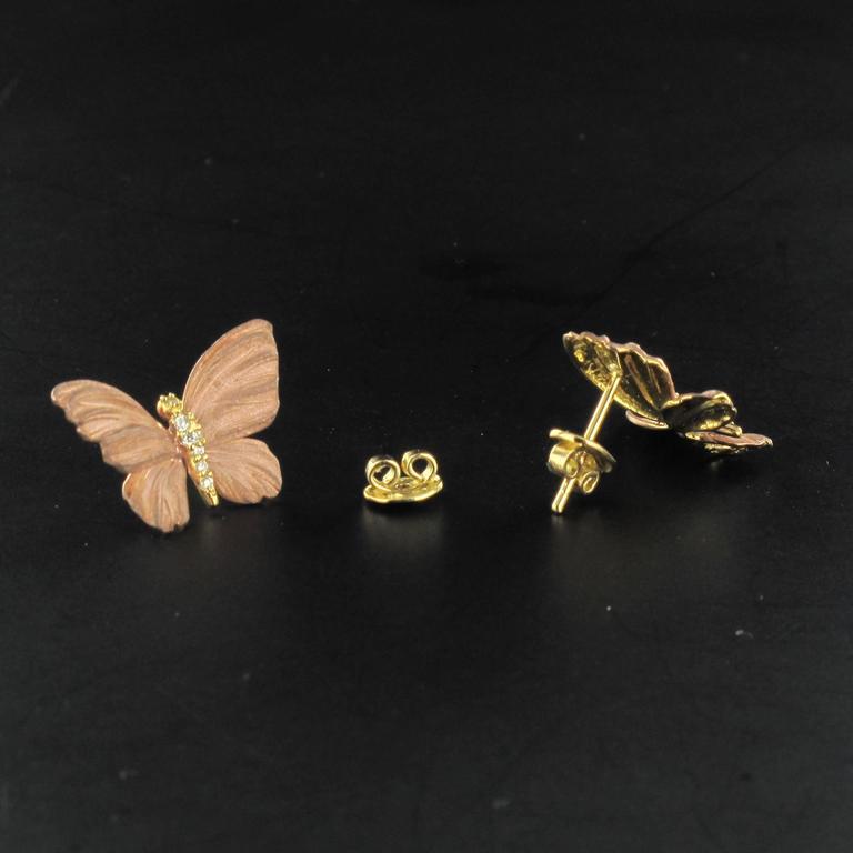 Rose Enamel Diamond Gold Butterfly Earrings For Sale 2