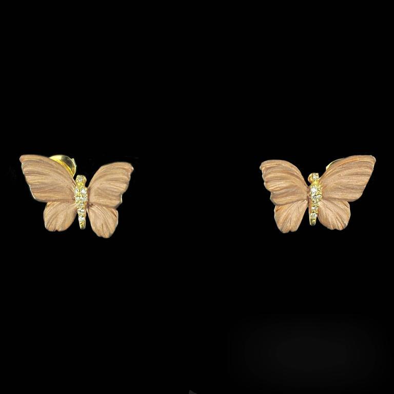 Rose Enamel Diamond Gold Butterfly Earrings For Sale 4