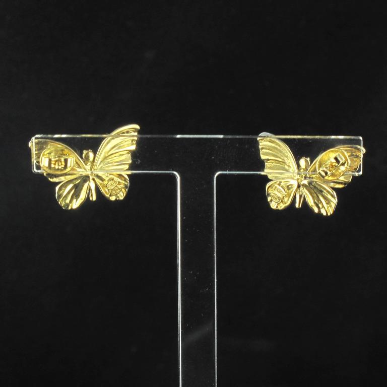 Art Nouveau Style Enamel Diamond Gold Butterfly Stud Earrings  For Sale 1