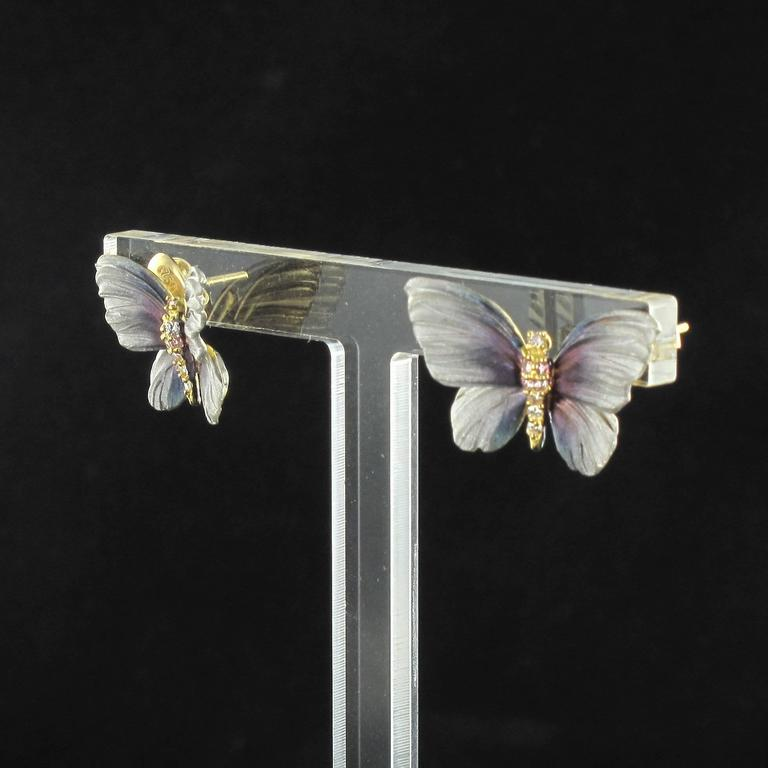 Women's Art Nouveau Style Enamel Diamond Gold Butterfly Stud Earrings  For Sale