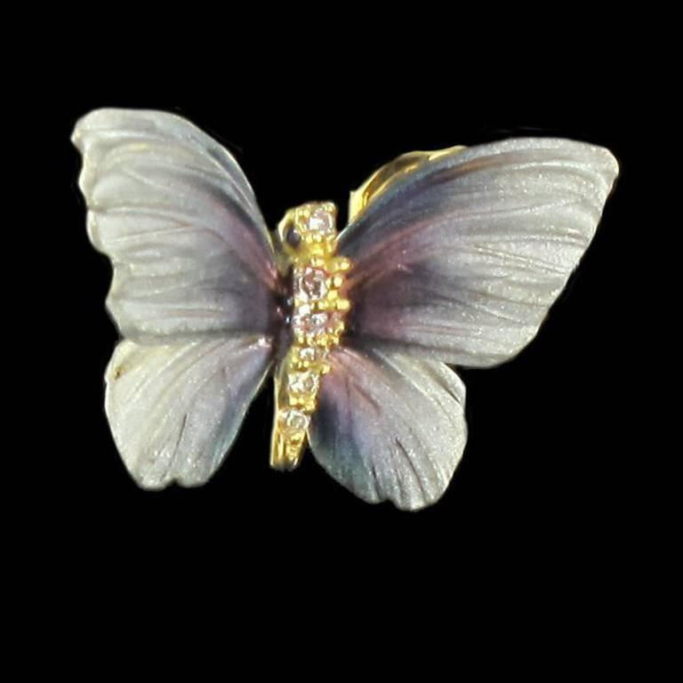 Art Nouveau Style Enamel Diamond Gold Butterfly Stud Earrings  In New Condition For Sale In Poitiers, FR