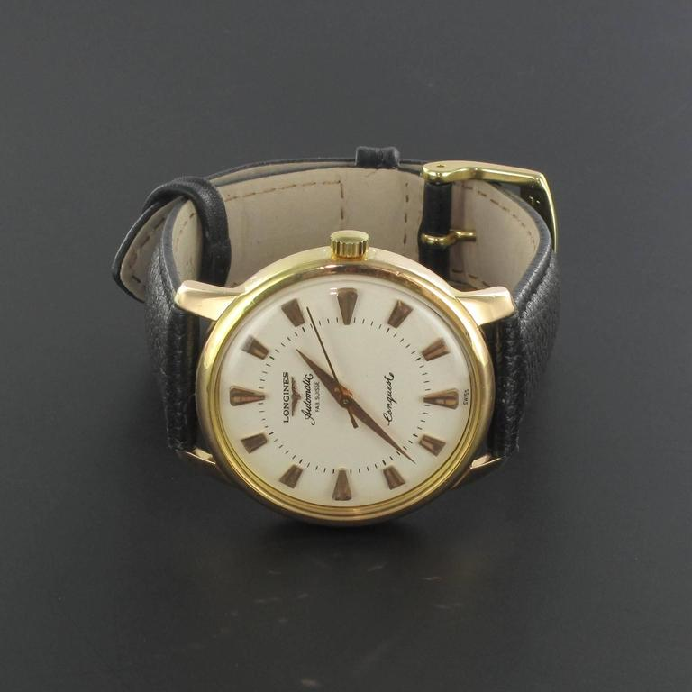 Men's Longines Yellow Gold Conquest Heritage Wristwatch For Sale