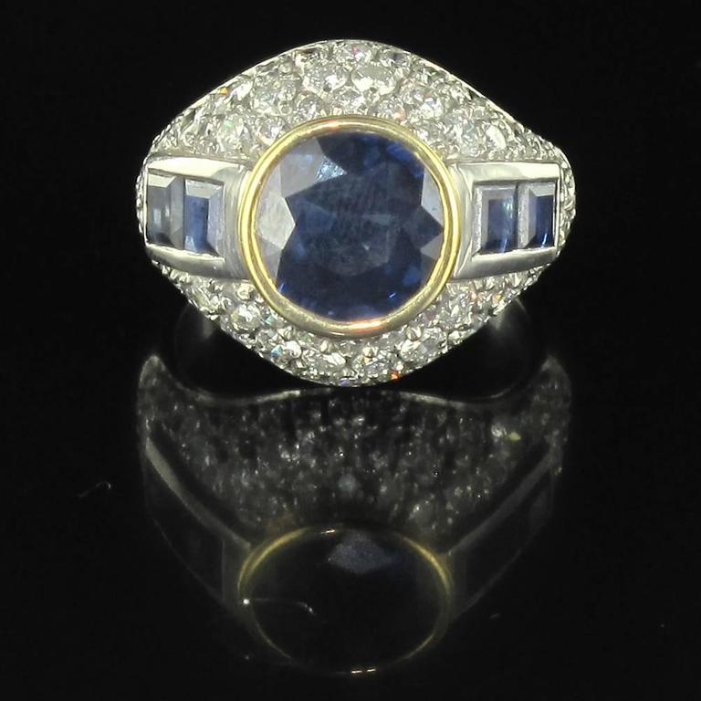 French Sapphire Diamond Platinum Ring In As new Condition For Sale In Poitiers, FR