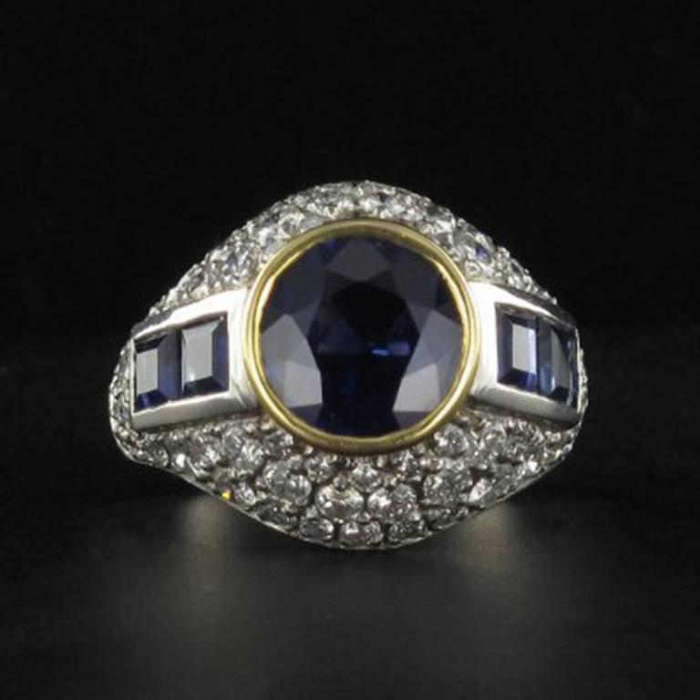 French Sapphire Diamond Platinum Ring For Sale 2
