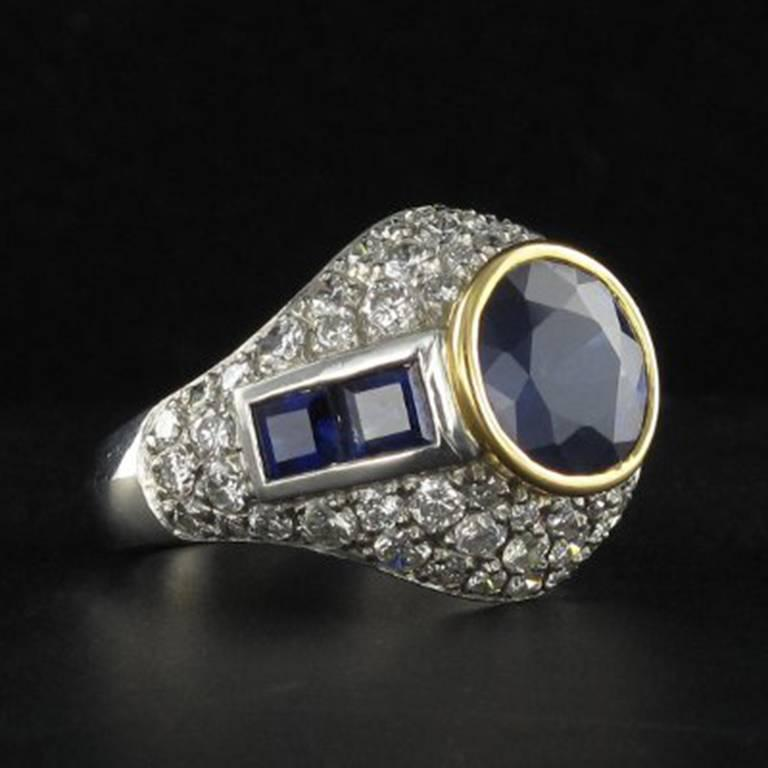 French Sapphire Diamond Platinum Ring For Sale 3