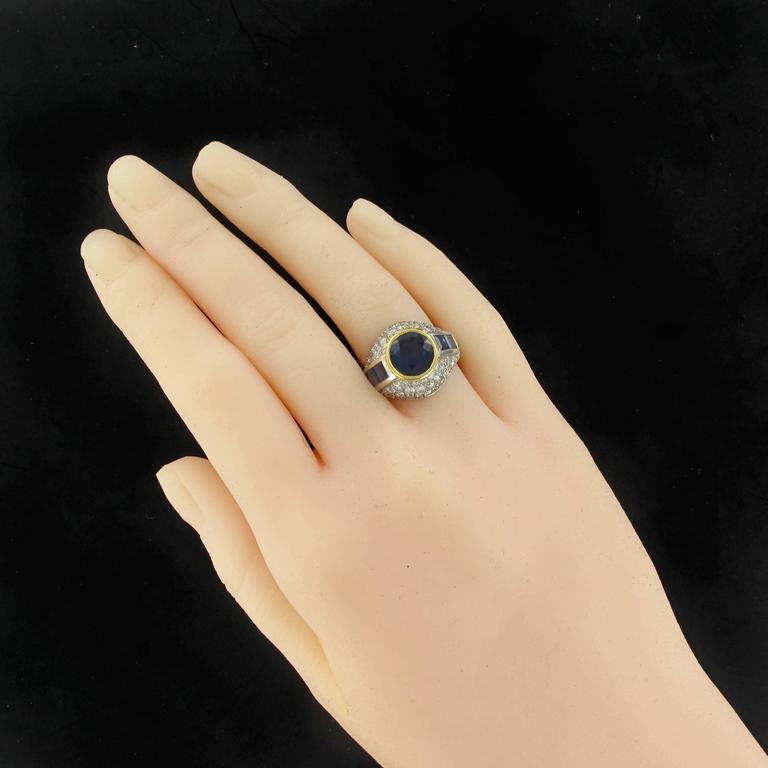 Art Deco French Sapphire Diamond Platinum Ring For Sale