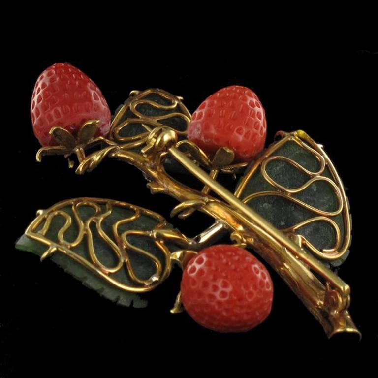 Retro Antique French Coral Jade Diamond Gold Strawberry Branch Brooch  For Sale