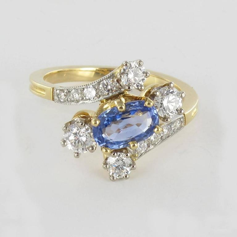 new antique style sapphire gold platinum ring for