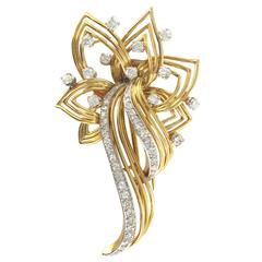 1960s French Diamond Gold Brooch