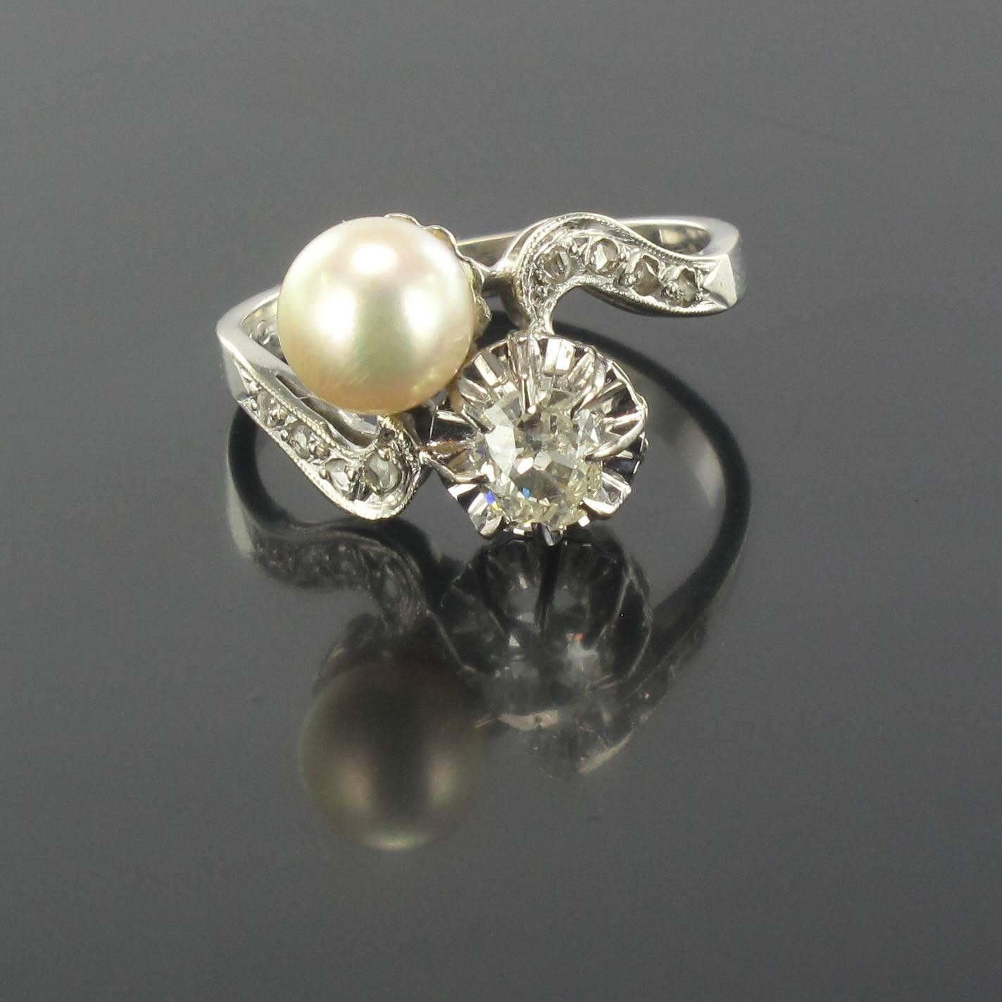 antique pearl gold toi et moi ring at 1stdibs