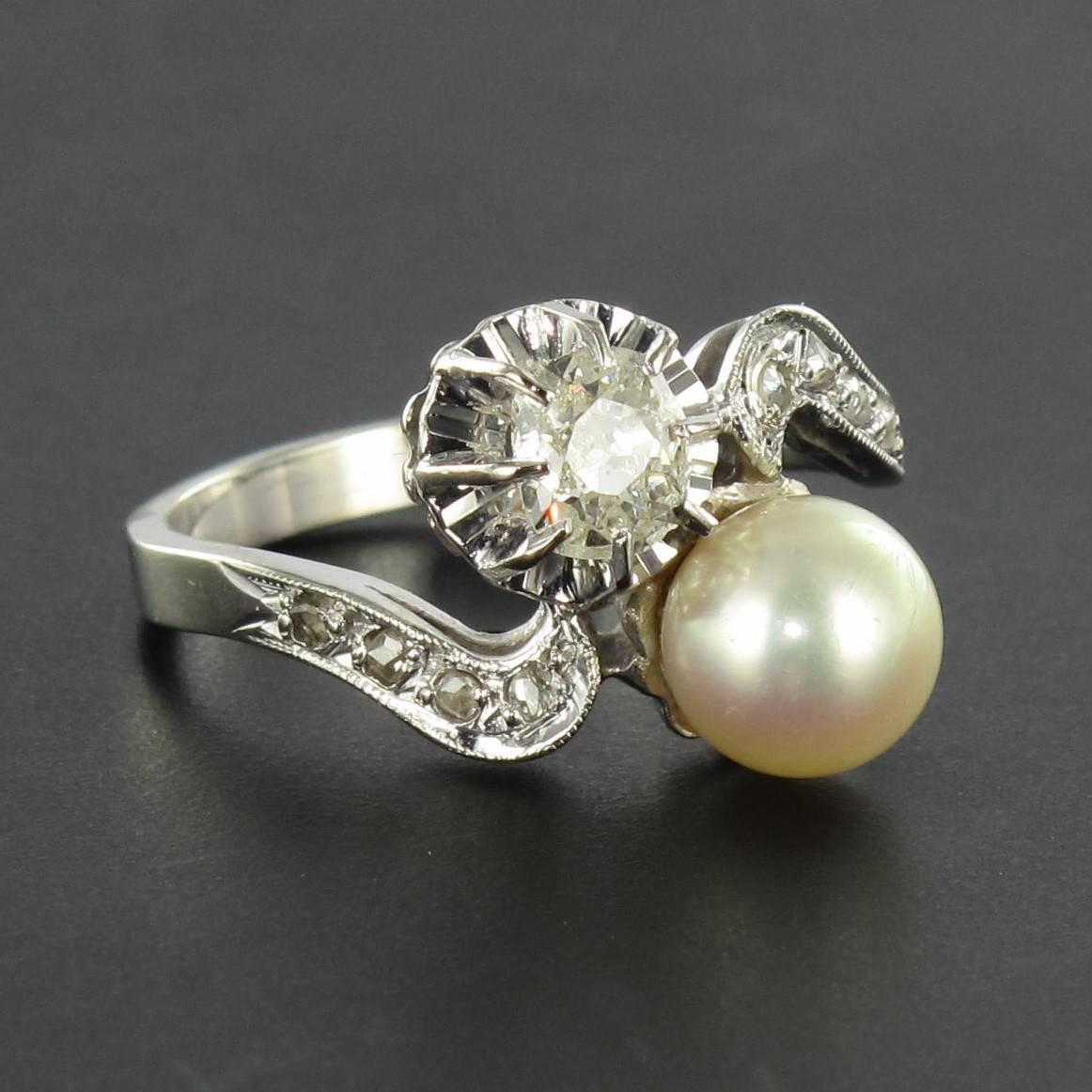 French Antique Pearl Diamond Gold Toi et Moi Ring at 1stdibs