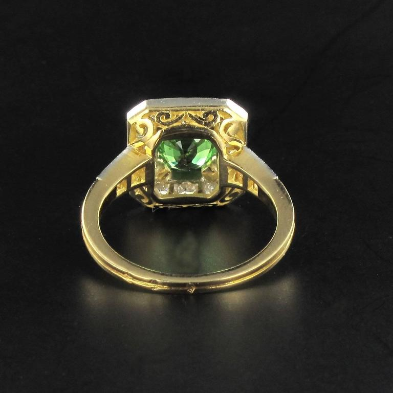 New Demantoid Garnet Diamond Platinum Gold Ring  6
