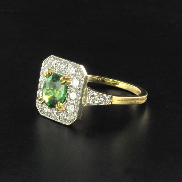 New Demantoid Garnet Diamond Platinum Gold Ring  5