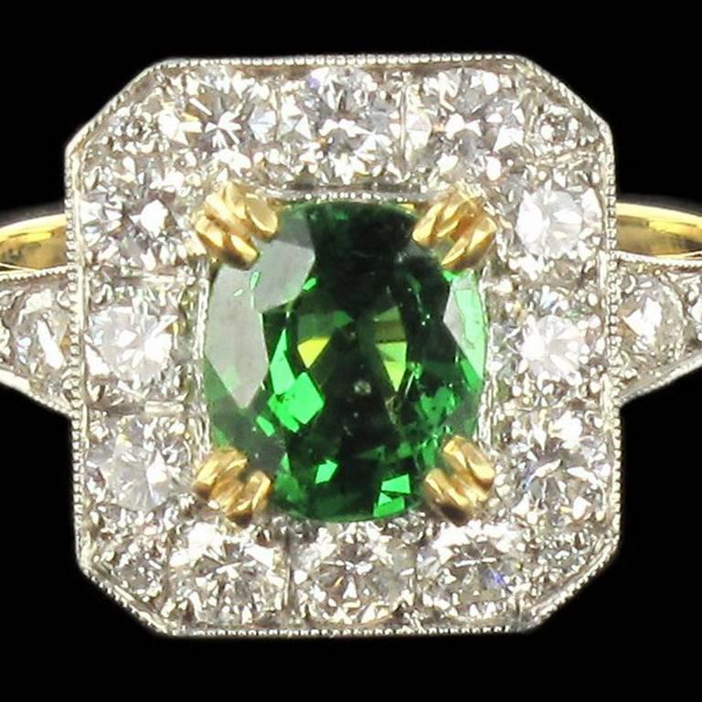 New Demantoid Garnet Diamond Platinum Gold Ring  7