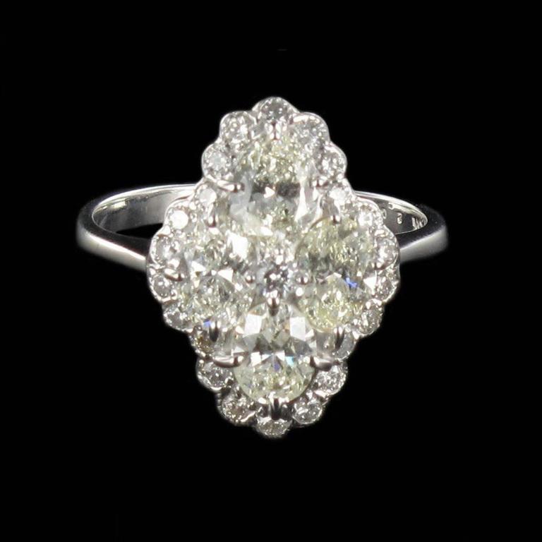 New Modern Marquise Diamond Gold Ring  2