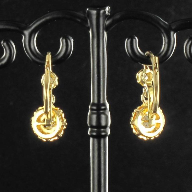 1950s French Diamond Gold Dangle Earrings  5