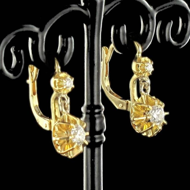 1950s French Diamond Gold Dangle Earrings  4