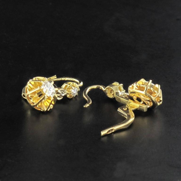 1950s French Diamond Gold Dangle Earrings  7