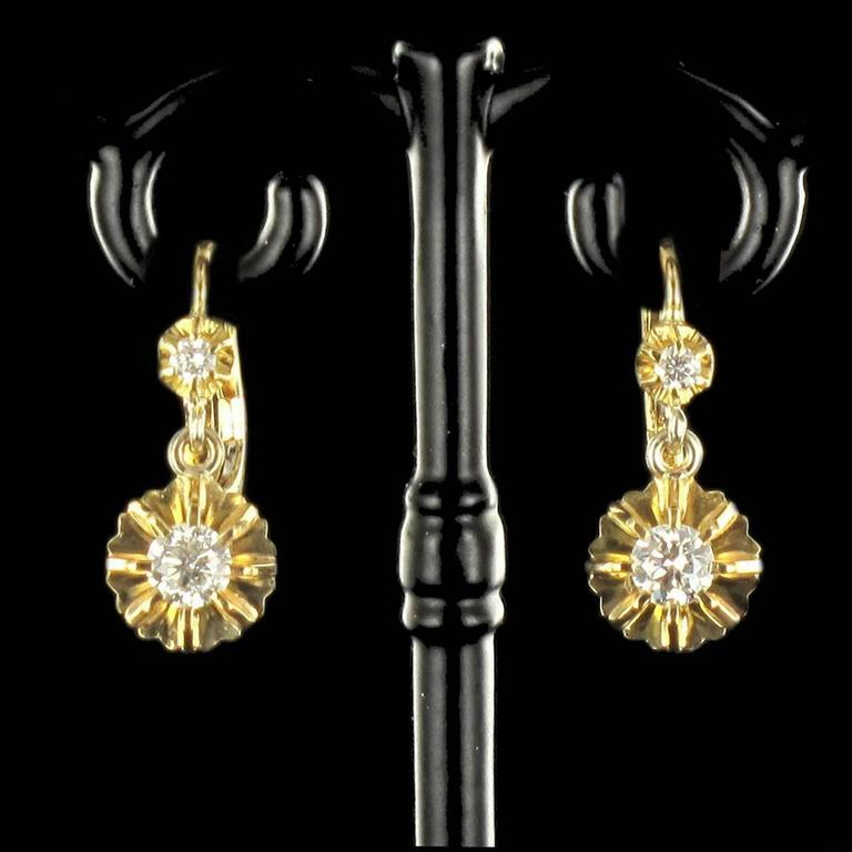 1950s French Diamond Gold Dangle Earrings  2