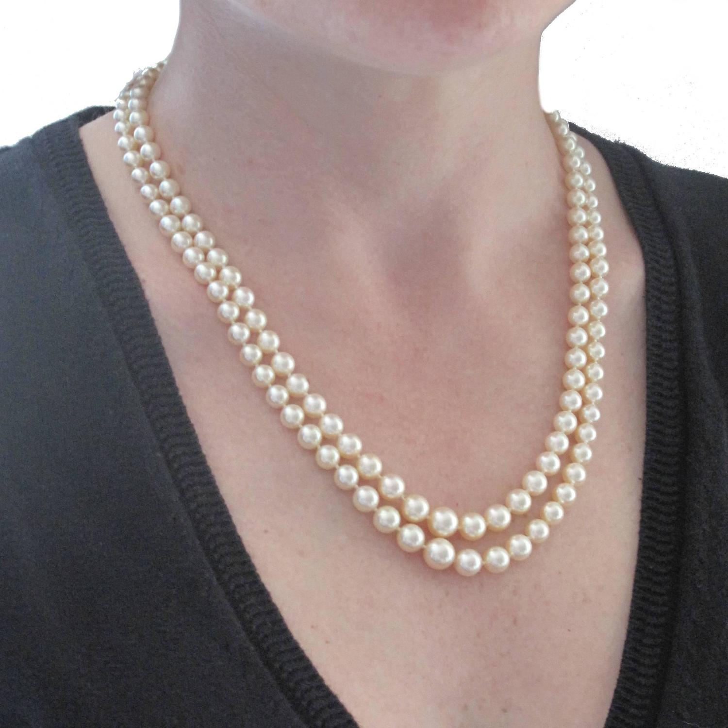 1950s Double Strand Japanese Cultured Pearl Necklace At