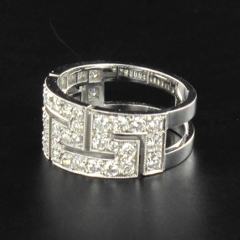 French Diamond Gold Band Ring For Sale 1