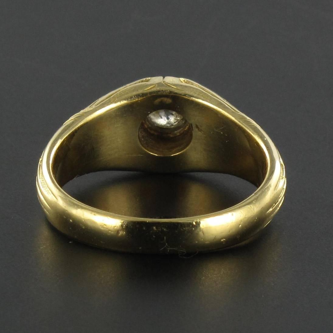 Antique Engraved Men's Diamond Gold Signet Ring at 1stdibs